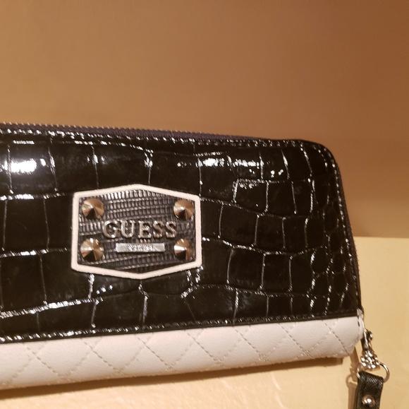 Guess Handbags - GUESS Black Patent Leather Wristlet